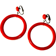 Bakelite Hoop Earrings, Articulated, Large, Red / Orange