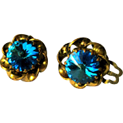 Vintage Rhinestone Earrings, Rivoli, Austria, 50's