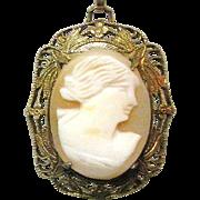 Art Nouveau Cameo Necklace, GF Filigree, Shell Carved Pendant