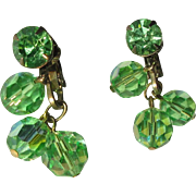 Green Crystal Earrings, Vintage Rhinestone, 1960's Dangling