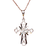 Sterling Cross, Filigree Necklace, Vintage Pendant With Chain