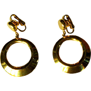 Vintage Hoop Earrings, Articulated Gold Toned, Crown Trifari 60's