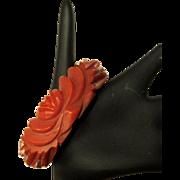 Carved Bakelite Bracelet, Carnelian Bangle, Floral, 40's.