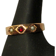 Victorian Ring, Rose Gold, Garnet & Pearl, 10K