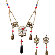 Festoon Necklace & Earrings, Czech Art Glass, Birds