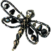 Vintage Butterfly Pin, Black Glass Pearl & Jet Crystals