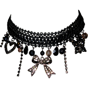Vintage Necklace, Crystal, Rhinestone, Lace Choker