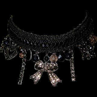 Vintage Necklace, Crystal, Rhinestone, Lace Choker