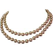 Glass Pearl Necklace, Vintage Hand Knotted