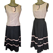 50's Skirt & Blouse, Jitterbug, Cotton & Full Skirt