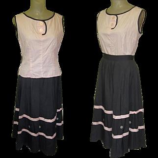 50's Skirt & Blouse, Jitterbug, Cotton & Full Skirt