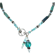 Crystal & Beaded Necklace, Turquoise Bead Cylinders