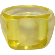 Lucite Ring, Clear Yellow, 1950's, Size 8
