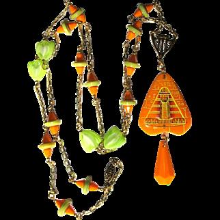 Egyptian Revival Necklace, Vintage 1930's Art Glass