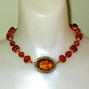 Czech Glass Necklace, Framed Centerpiece, Vintage 20's