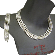 Baroque Pearl Necklace & Bracelet, 14K Filigree Clasp, Multi Strand