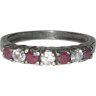 Vintage Sterling Ring / Band, Clear & Red Rhinestones