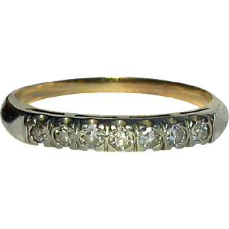 14K Diamond Band, Vintage Ring, Anniversary