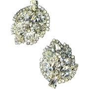 Vintage Rhinestone Earrings, Large Leaf, 1950's