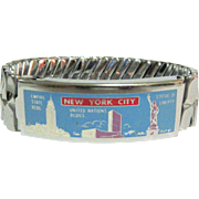 1950's Expansion Bracelet, New York City, Enamel, Landmarks