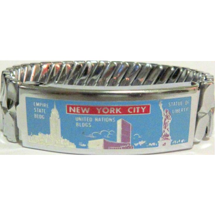 1950's Expansion Bracelet, New York City, Enamel, Landmarks