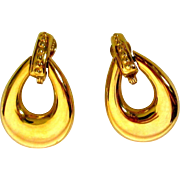 Vintage Hoop Earrings, Large, Gold Toned Monet