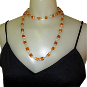 Flapper Bead Necklace, Art Deco Glass 1920's