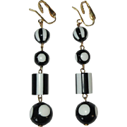 Vintage Drop Earrings, Black & White Polka Beads