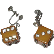Bakelite Dice Earrings, Rhinestones, Butterscotch, Art Deco