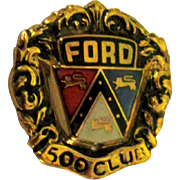 Ford Pin 10K Yellow Gold Vintage Enamel 500 Club