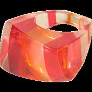 Lucite Rainbow Ring, 1960's Pink & Orange