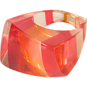 Lucite Rainbow Ring, 1960's Pink & Orange