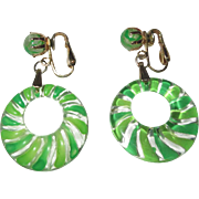 Lucite Hoop Earrings, Carved & Painted Green Stripes, Vintage