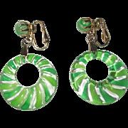 Lucite Hoop Earrings, Carved & Painted Green Stripes, Vintage