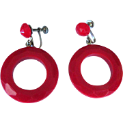 Red Hoop Earrings, Faceted Lucite, Vintage 1950's