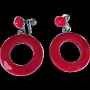 Red Hoop Earrings, Faceted Lucite, Vintage 1950's