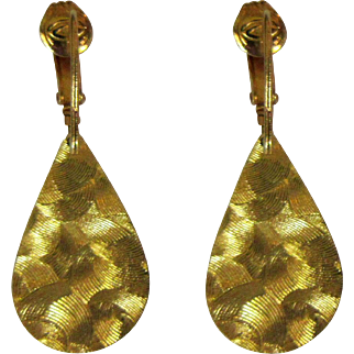 Vintage 60's Earrings, Brushed Gold Finish, Reversible