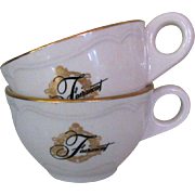 Fairmont Hotel Coffee Cups, Vintage Restaurant