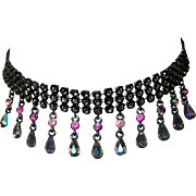 Vintage Rhinestone Necklace, Japanned Chain & Dangles, 1980