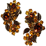 Vintage Rhinestone Earrings, Topaz Color Stones, 1950's