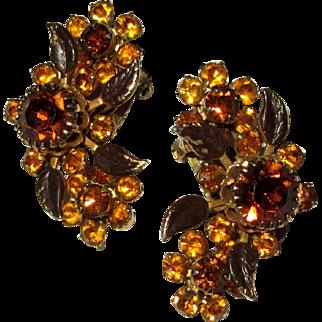Vintage Rhinestone Earrings, Topaz Color Stones, 1950's