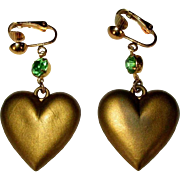 Heart Earrings, Vintage Drop Rhinestone