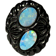 Victorian Jet Ring, Opal, Carved French Jet