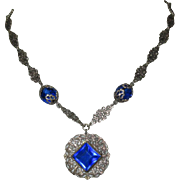 Czech Glass Necklace, Filigree Links, Cobalt Deco Blue, 1920's