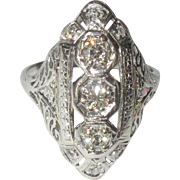 Platinum Diamond Ring, Art Deco Filigree, 1940's