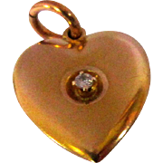 Diamond Charm, Puffy Heart, 10K, Gold, Vintage