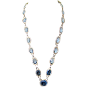 Vintage Blue Crystal Necklace, Large Stones, Etched Bezel Frames
