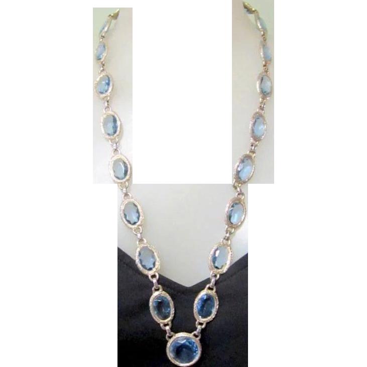 Vintage Blue Crystal Necklace, Large Stones, Etched Bezel Frames