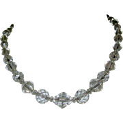 Art Deco Crystal Necklace, Vintage 1920's Faceted Beads