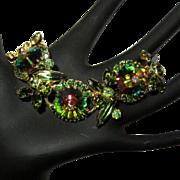Juliana, D & E, Rhinestone Rivoli Bracelet, Vintage 5 Link